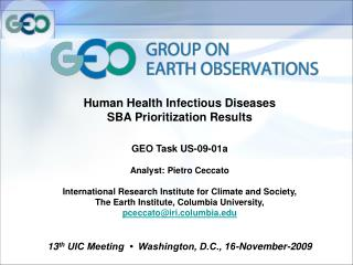 Human Health Infectious Diseases SBA Prioritization Results GEO Task US-09-01a