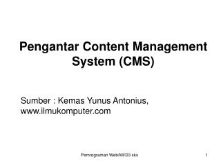 Pengantar Content Management System (CMS)