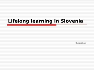 Lifelong learning in Slovenia