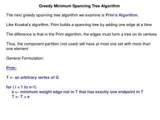 Greedy Minimum Spanning Tree Algorithm