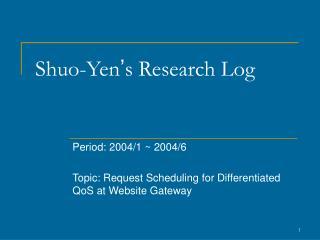 Shuo-Yen ' s Research Log