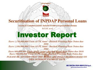 Securitisation of INPDAP Personal Loans