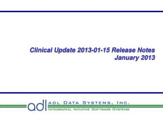 Clinical Update 2013-01-15 Release Notes  January 2013