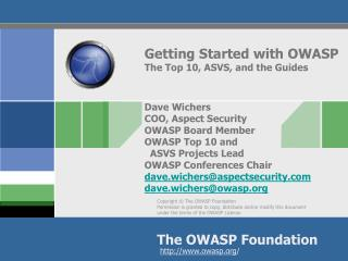 The OWASP Documentation Projects