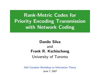 Rank-Metric Codes for Priority Encoding Transmission with Network Coding