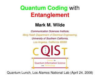 Quantum Coding with Entanglement