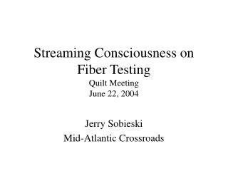 Streaming Consciousness on Fiber Testing Quilt Meeting  June 22, 2004