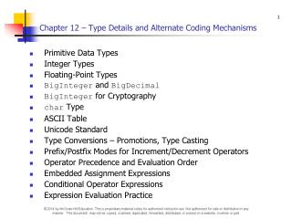 Chapter 12 – Type Details and Alternate Coding Mechanisms