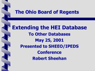 The Ohio Board of Regents