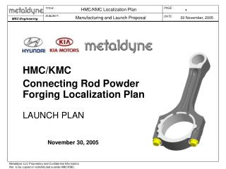 HMC/KMC Connecting Rod Powder Forging Localization Plan LAUNCH PLAN