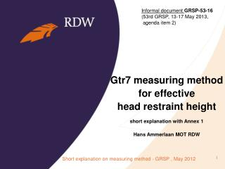 Gtr7 measuring method for effective head restraint height short explanation with Annex 1
