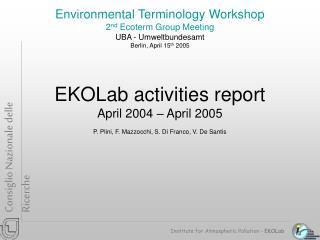 Institute for Atmospheric Pollution –  EKOLab
