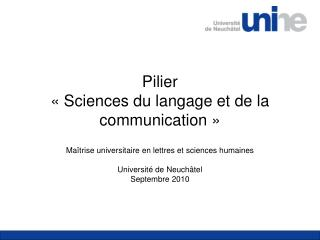 Pilier  « Sciences du langage et de la communication »