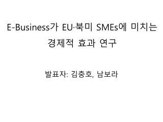 E-Business 가  EU· 북미  SMEs 에 미치는 경제적 효과 연구