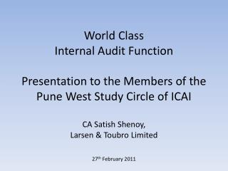 Key aspects of a World Class Internal Audit Function