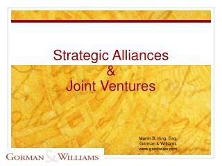 Strategic Alliances   Joint Ventures