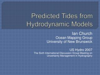 Predicted Tides from Hydrodynamic Models