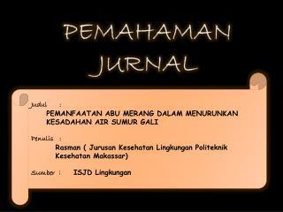 PEMAHAMAN JURNAL