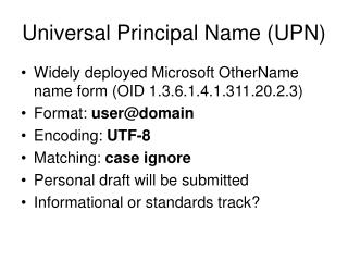 Universal Principal Name (UPN)
