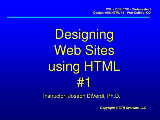 Designing Web Sites using HTML #1