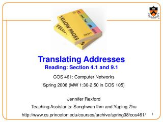 Translating Addresses Reading: Section 4.1 and 9.1
