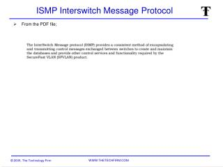 ISMP Interswitch Message Protocol