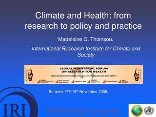 Climate and Health: from research to policy and practice
