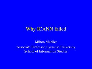 Why ICANN failed