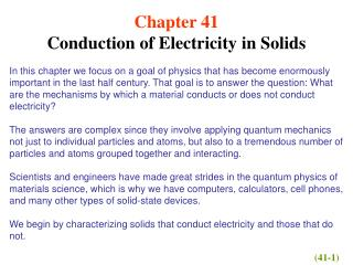 Chapter 41 Conduction of Electricity in Solids