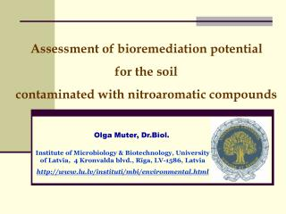Assessment of bioremediation potential  for the soil  contaminated with nitroaromatic compounds