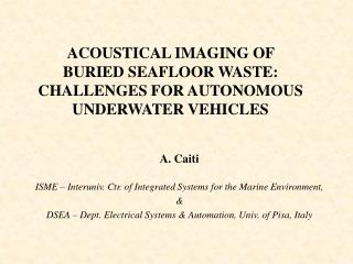 ACOUSTICAL IMAGING OF  BURIED SEAFLOOR WASTE: CHALLENGES FOR AUTONOMOUS UNDERWATER VEHICLES