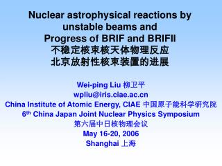Wei-ping Liu  柳卫平 wpliu@iris.ciae.ac  China Institute of Atomic Energy, CIAE  中国原子能科学研究院