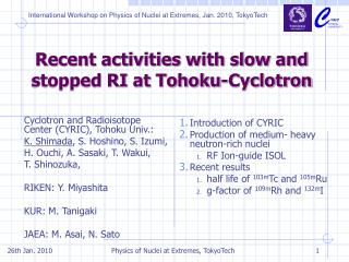 Recent activities with slow and stopped RI at Tohoku-Cyclotron