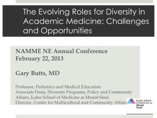 The Evolving Roles for Diversity in Academic Medicine: Challenges and Opportunities