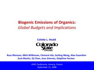Biogenic Emissions of Organics: Global Budgets and Implications
