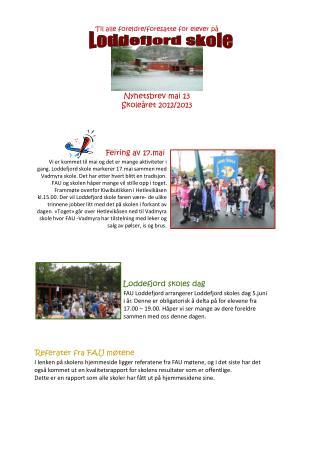 Til alle foreldre/foresatte for elever på Nyhetsbrev  mai 13 Skoleåret  2012/2013
