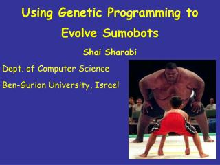 Using Genetic Programming to Evolve Sumobots Shai Sharabi  Dept. of Computer Science Ben-Gurion University, Israel