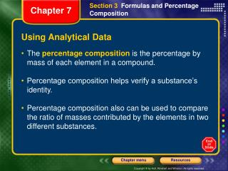 Using Analytical Data