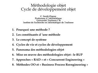 1.Pourquoi une méthode ? 2.Les constituants d'une méthode 3.Le concept de système