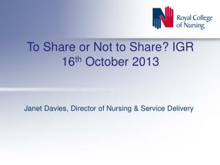 To Share or Not to Share? IGR 16 th  October 2013