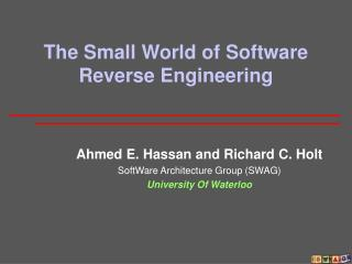 The Small World of Software Reverse Engineering