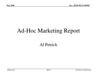 Ad-Hoc Marketing Report