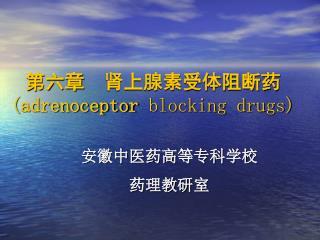第六章  肾上腺素受体阻断药 ( adrenoceptor  blocking drugs)