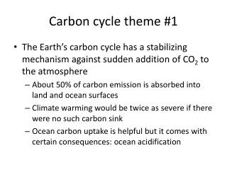 Carbon cycle theme #1