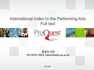 International Index to the Performing Arts Full text