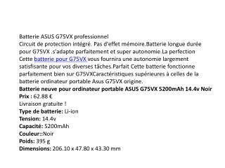 Batterie ASUS G75VX professionnel