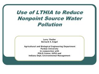 Use of LTHIA to Reduce Nonpoint Source Water Pollution