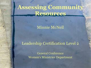 Assessing Community Resources Minnie McNeil Leadership Certification Level 2 General Conference