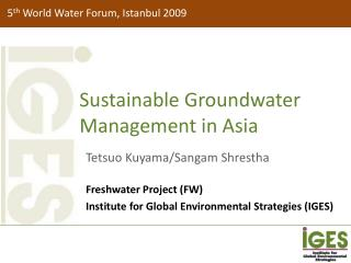 Sustainable Groundwater Management in Asia