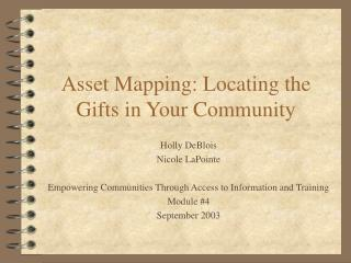 Asset Mapping: Locating the Gifts in Your Community